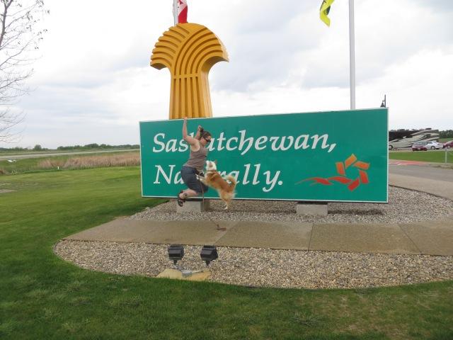 Sheila and Spencer at the Saskatchewan border